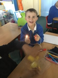 In science we have been investigating electricity and finding out how to make a working circuit.  Then we added buzzers and switches too.